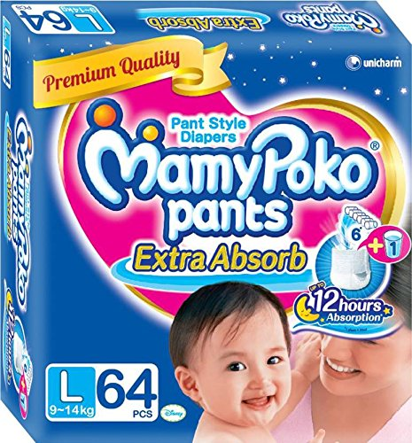 MamyPoko Baby's Pants with 64 Pieces (Blue, Large)