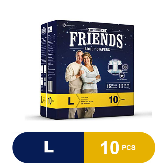Friends Overnight Adult Large Diapers (10 Pieces)