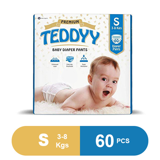 Teddyy Baby Premium Small Diaper Pants (Pack of 60)