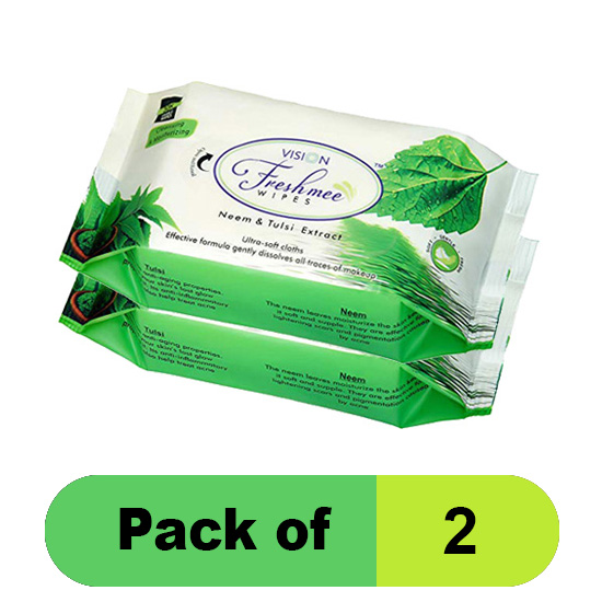 Vision Refreshing Wipes,Neem and Tulsi Extract (Pack of 2)