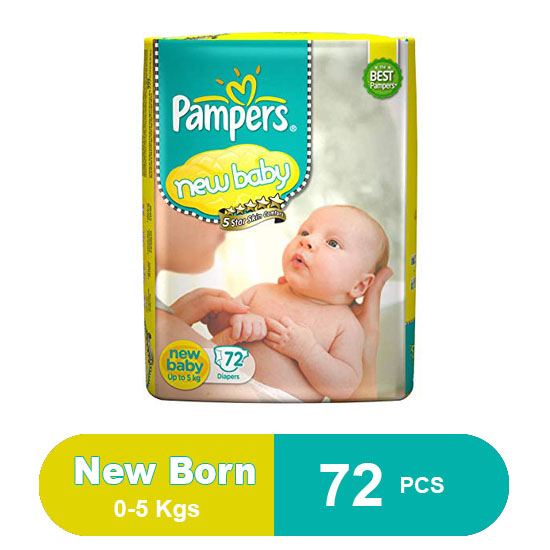 Pampers Active Baby New Born Tape Style Diapers (72 Count)