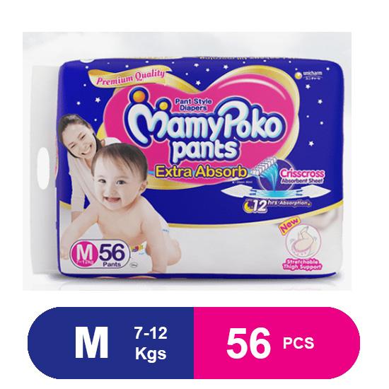 MamyPoko Pants Extra Absorb Diapers, Medium (56 Pcs)