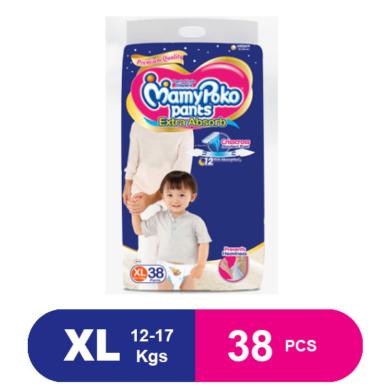 MamyPoko Pants Extra Absorb Diapers, Extra Large (38 Pcs)