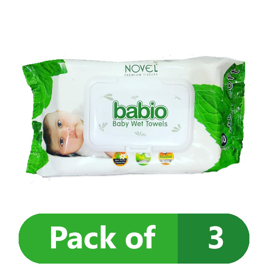 BABIO Cotton Baby Wipes (White) Pack of 3