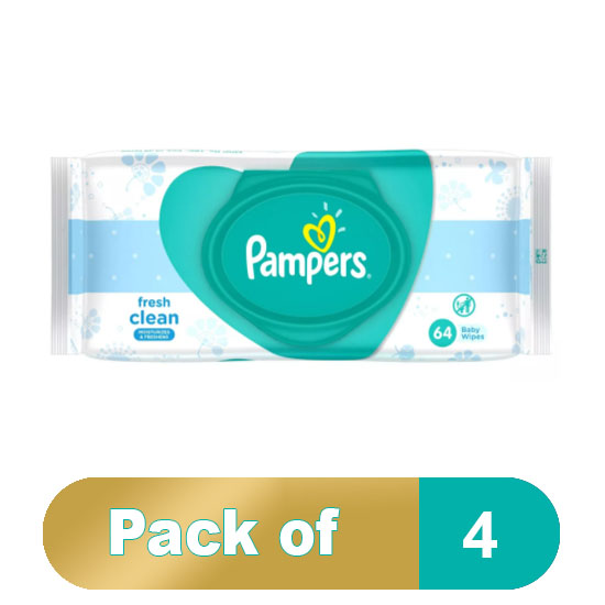 Pampers Fresh Baby Wipes Pack Of 4 (4 x 64Pcs)