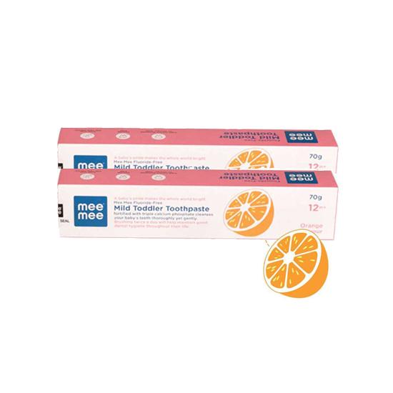 Mee Mee Fluoride-Free Orange Flavor Toothpaste, 70g (Pack of 2)