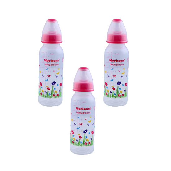 Morison PP Feeding Bottle with Spoon 250ml - Pink (Pack of 3)
