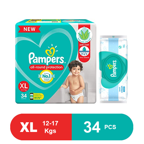 Pampers Baby Pants Dry Pants Extra large- 34,Free pampers wipes worth Rs.199