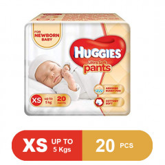 Huggies Ultra Soft New Born Baby Pants Diapers (Pack of 20)