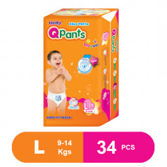 Q Pants Super Fit Baby Diapers Large 34 pcs