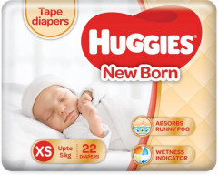 Huggies New born Tape Diapers (Pack of 22)