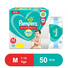 Pampers Baby Pants Dry Pants Medium- 50, Free pampers wipes worth Rs.199